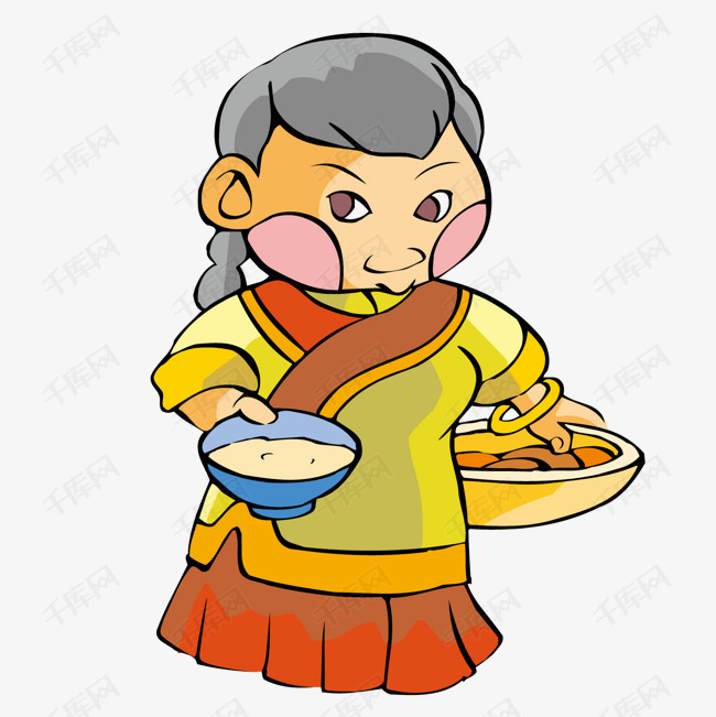 淘米做饭的古代妇人