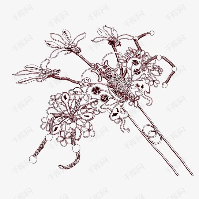 手绘花朵古风发簪素材图片免费下载 高清png 千库网 图片编号9218586图片