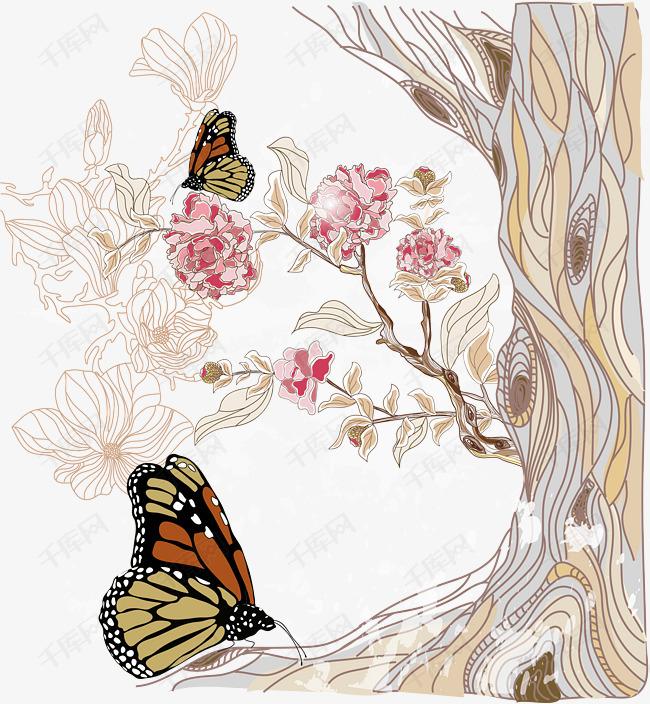 蝴蝶插画设计,唯美蝴蝶插画,平面设计蝴蝶,蝴蝶,花,树