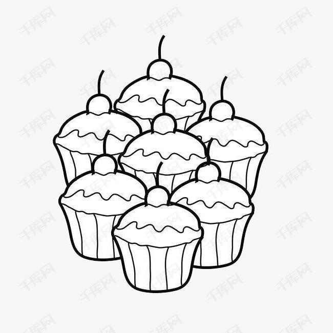 樱桃纸杯蛋糕超萌可爱简笔画食物素材图片免费