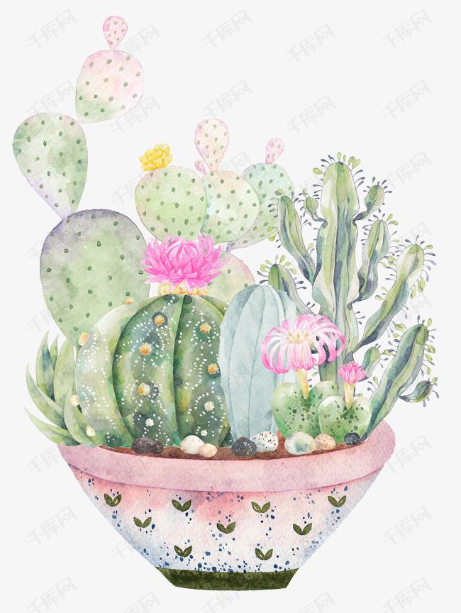 手绘植物盆栽素材