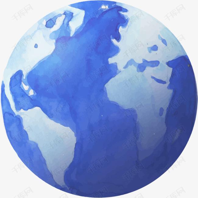 蓝色水彩手绘地球素材图片免费下载 高清png 千库网 图片编号10372177图片