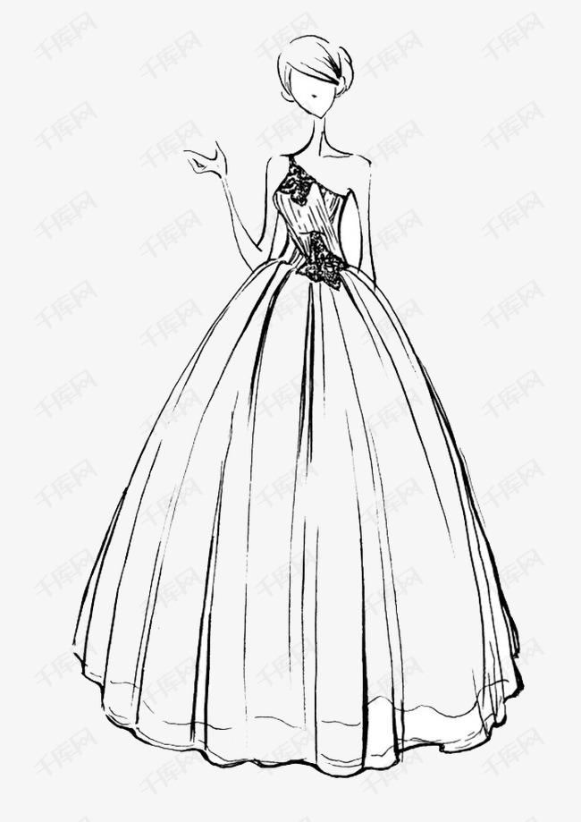 手绘婚纱素材图片免费下载 高清卡通手绘png 千库网 图片编号3695107