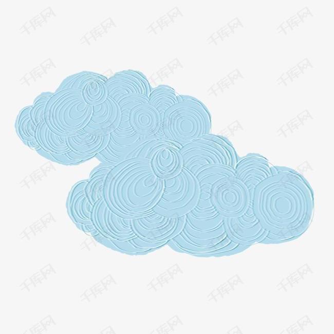 淡蓝色手绘雕刻卷横云素材图片免费下载 高清png 千库网 图片编号10048139