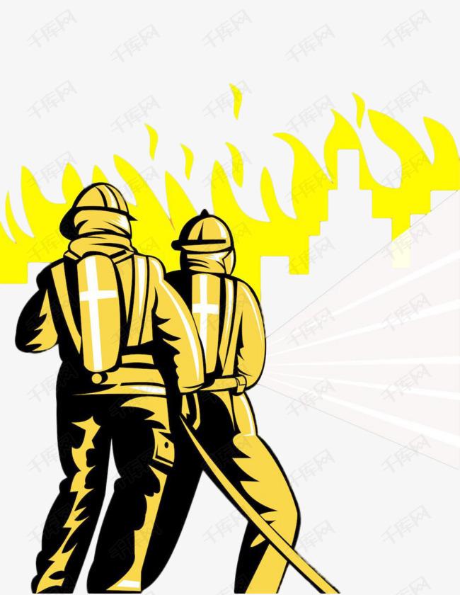 卡通风简笔画消防员现场救火英雄的素材免抠消防救火燃气水现场消防