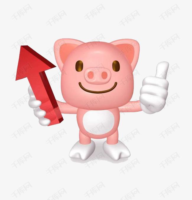 手拿箭头竖大拇指的卡通小猪素材图片免费下载图片