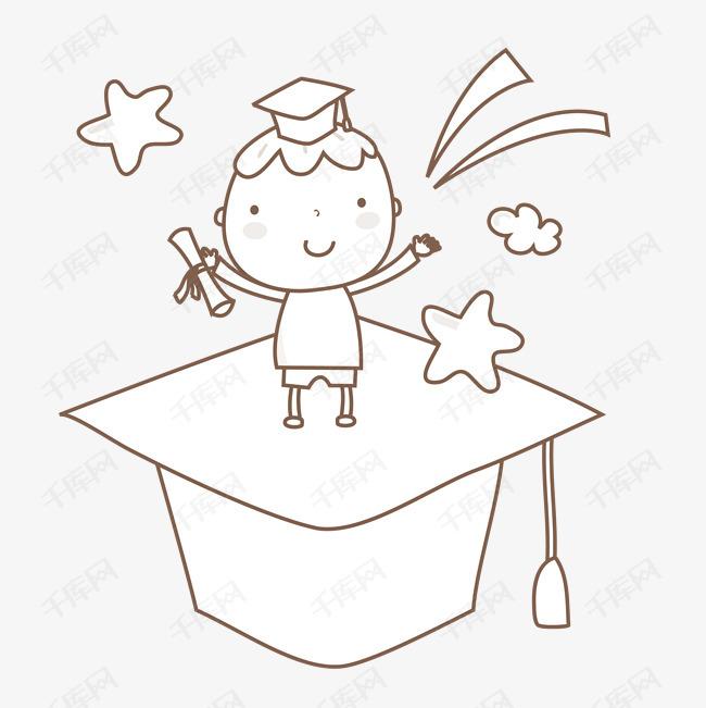 博士帽上的卡通小博士素材图片免费下载 高清png 千库网 图片编号9786975