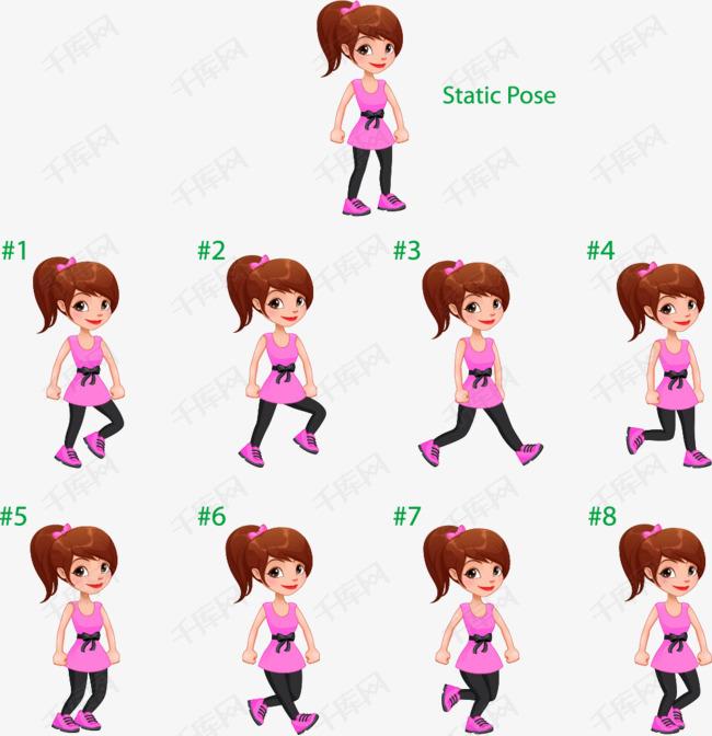 动态女生衣服女孩分解图追粉色欲擒故纵的图片