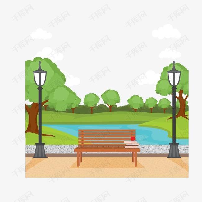 城市公园和长椅风景矢量素材