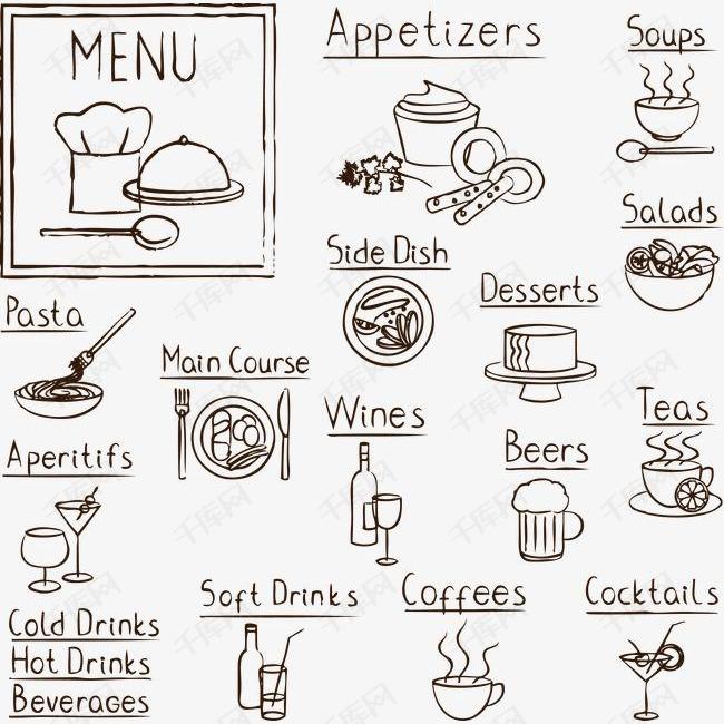 手绘黑板风欧美食物餐饮素材图片免费下载 高清装饰图案psd 千库网 图片编号1784824