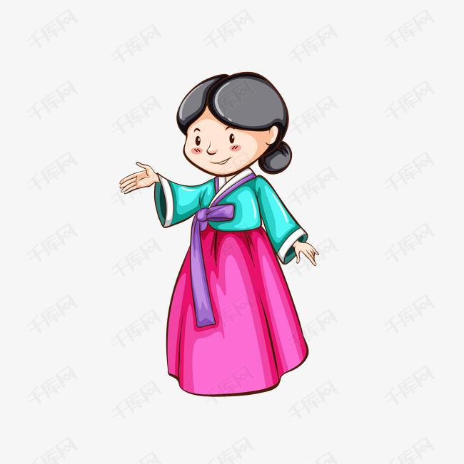 手绘水墨韩国女人矢量素材图片免费下载 高清psd 千库网 图片编号10436522