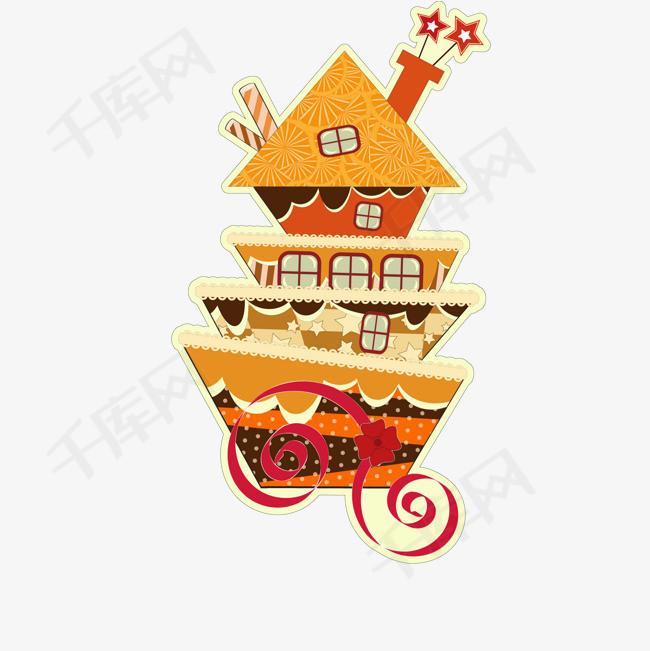卡通房屋蛋糕食物设计图片