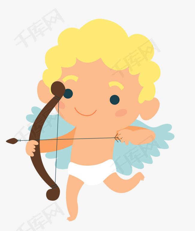 手绘射箭的小男孩免抠图图片