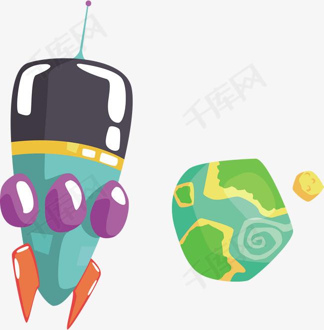 一个手绘太空飞船素材图片免费下载_高清psd_千库网