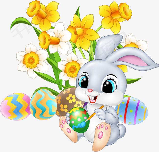 卡通手绘彩蛋与兔子素材图片免费下载 高清png 千库网 图片编号11158205