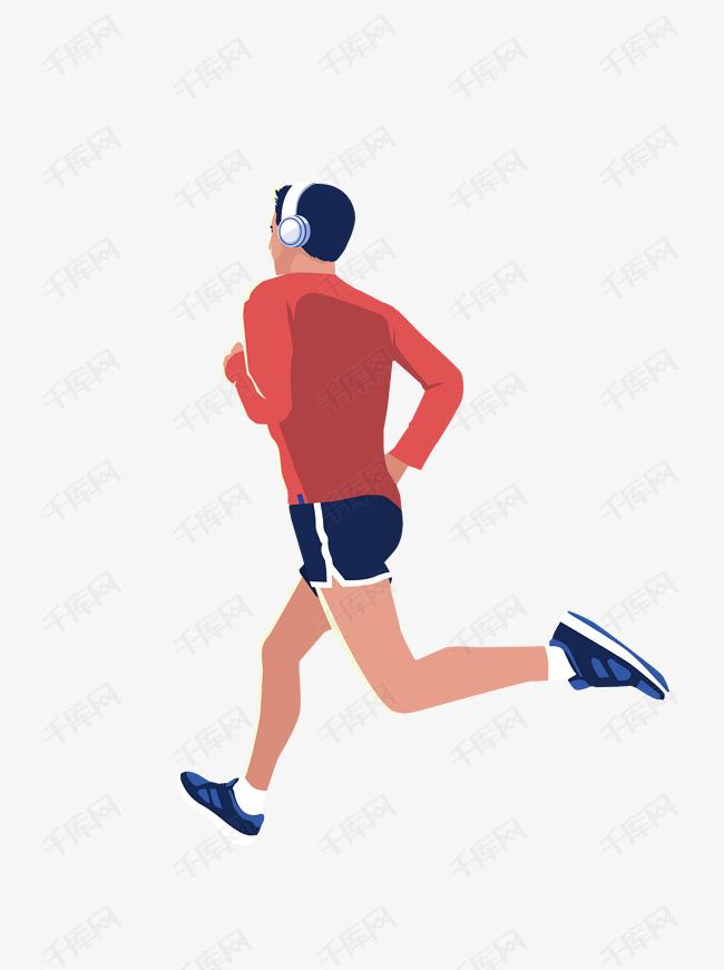 晨跑健身的男人背影元素