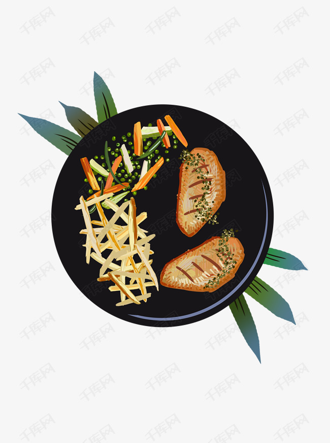 美食手绘烤鸡翅薯条设计元素图片