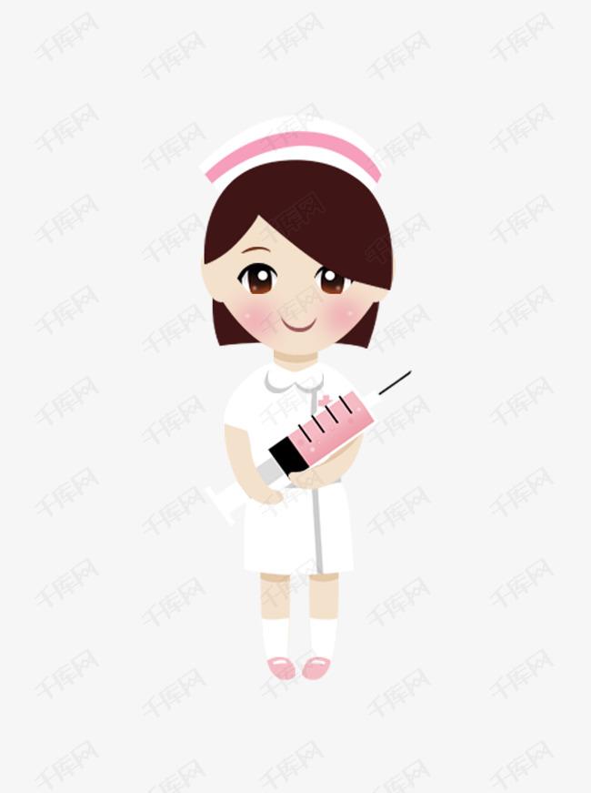 80卡通手绘女护士拿针管原创元素图片