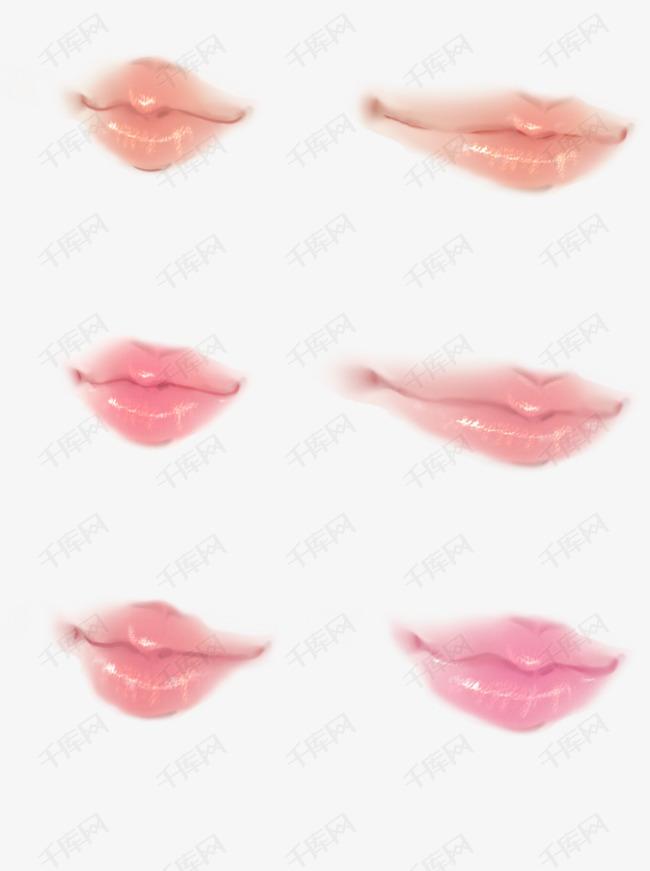 手绘嘴唇时装画桃花唇古风嘴唇人鱼色五官素材