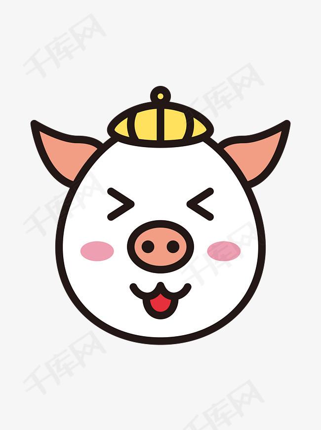 猪开心生肖卡通可爱图片猪可表情元素头像素描商用动漫表情包图片