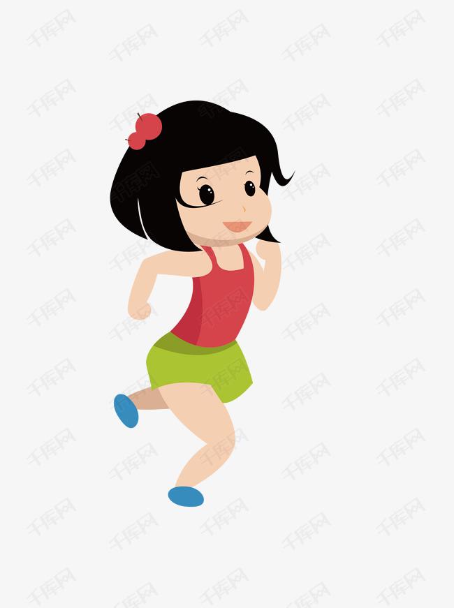 卡通可爱跑步运动的女孩人物素材图片