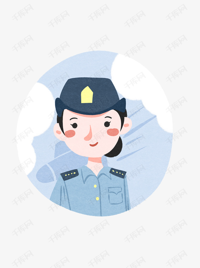 国庆节军人空军女兵蓝色扁平卡通插画可商用元图片