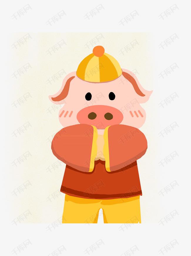 手绘可爱猪宝宝拜年原创元素