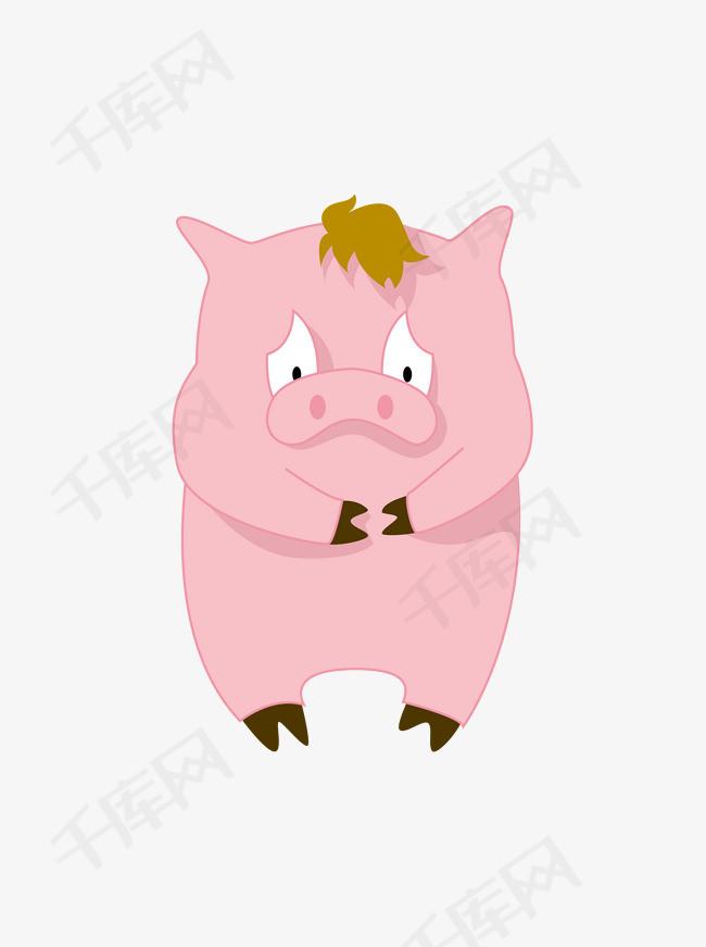 可爱猪年表情猪元素素材简约猪屁股委屈卡通表情包形象抖扭二音哈图片
