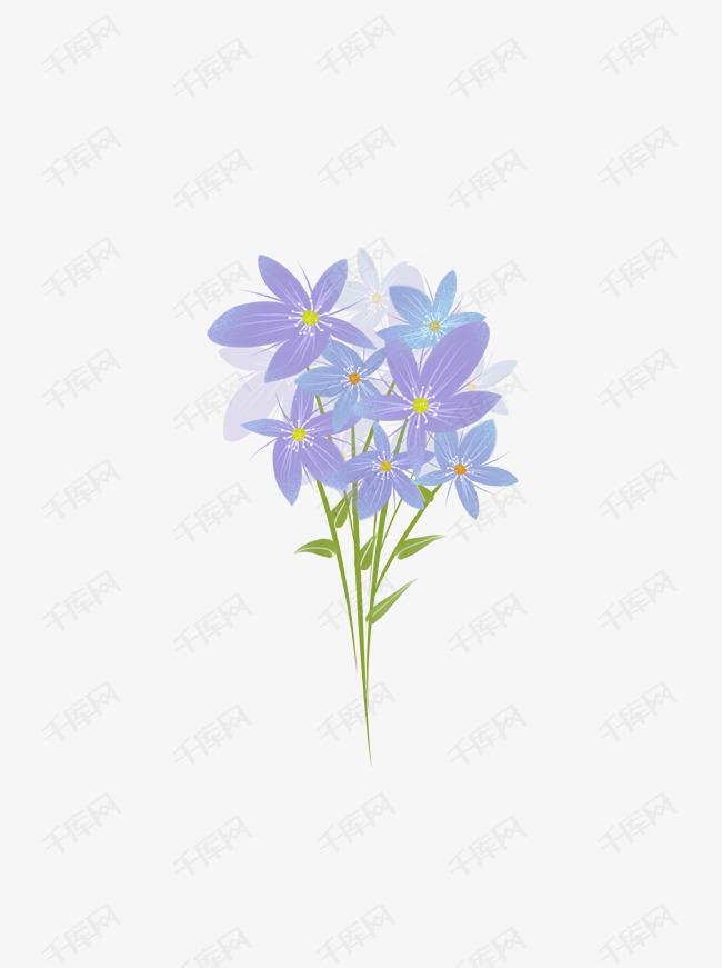 手绘花束之唯美浪漫清新一束紫蓝色花朵素材的素材免抠一束花情人花手绘花唯美浪漫清新紫色花朵花束蓝色魅蓝叶花