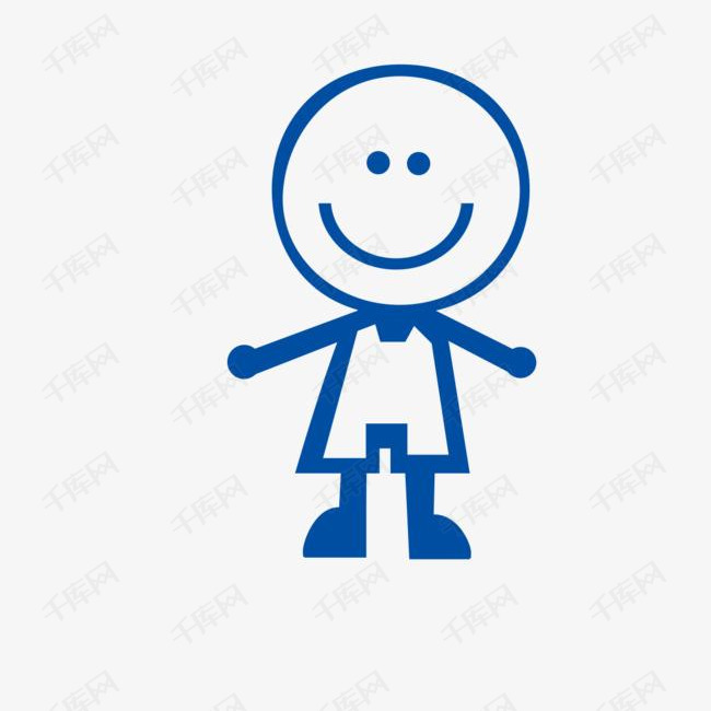 微笑的简笔小人图的素材免抠微笑的表情创意简笔画人物小人卡通-微