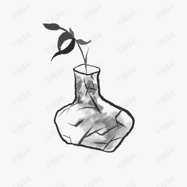 传统水墨花瓶花朵绘画的素材免抠不规则花瓶传统水墨传统装饰唯美意境水墨国画清新花瓶中国风墨色插画水墨