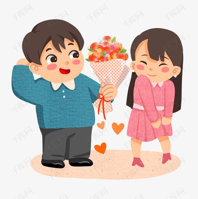 卡通手绘送花情侣设计图片