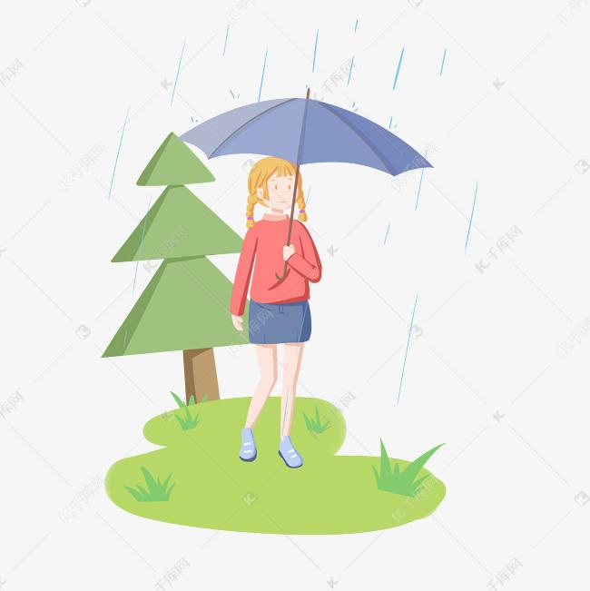 清明节下雨打伞的女孩手绘插画图片
