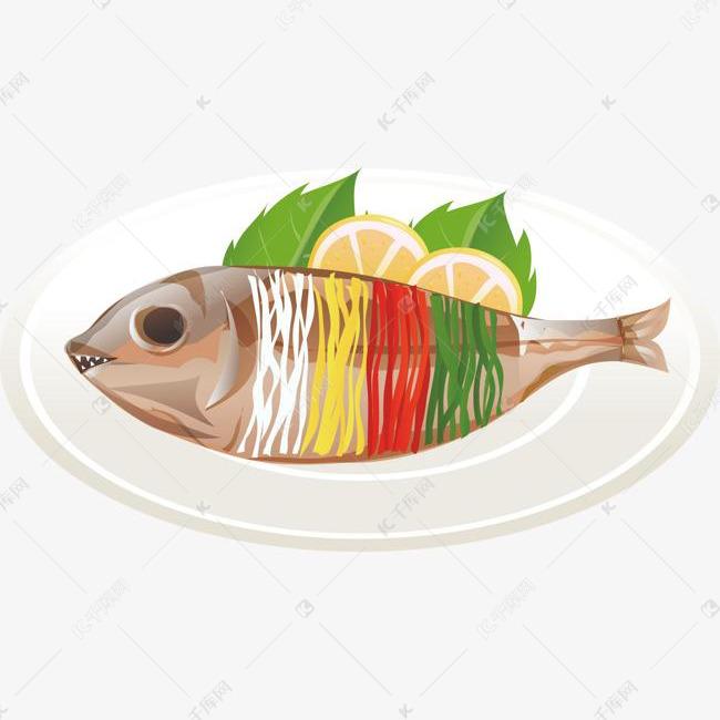 手绘清蒸鱼素材图片免费下载 高清卡通手绘psd 千库网 图片编号7860525
