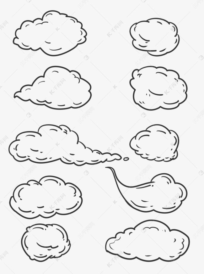 简约线条手绘云朵白云边框可商用元素素材图片免费下载 千库网图片