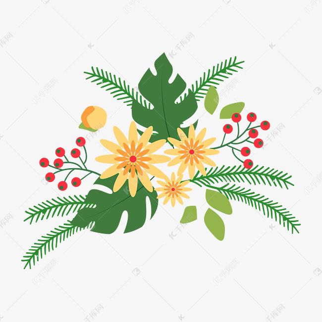 森系小清新水彩手绘绿叶花朵