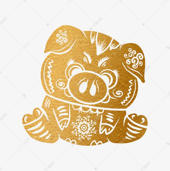 2019新年手绘卡通剪纸猪素材图片免费下载 高清psd 千库网 图片编号11622290