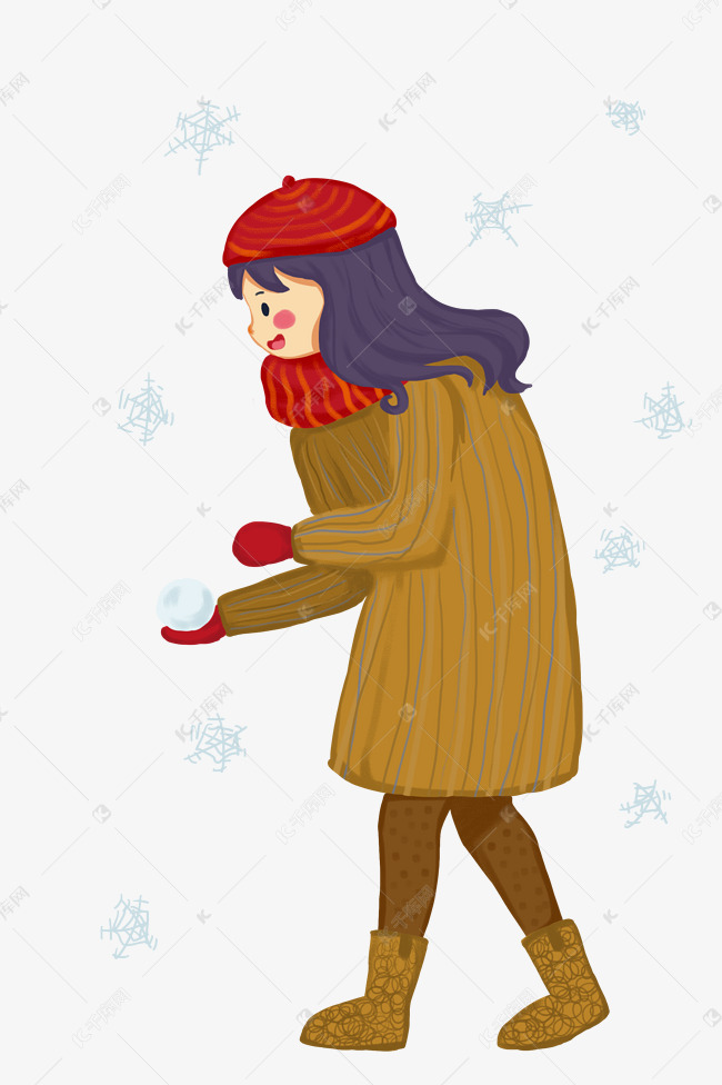 打雪仗的弯腰小女孩v初中初中征文图片
