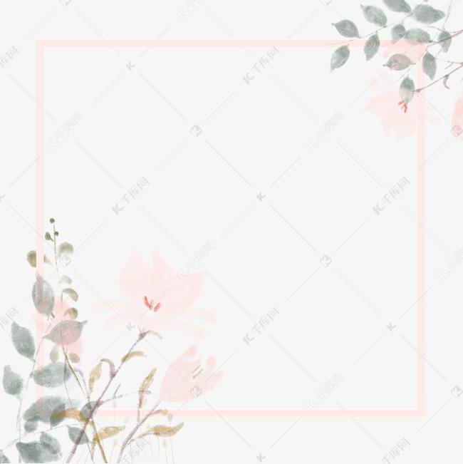 古风边框水墨花朵素材图片免费下载 千库网