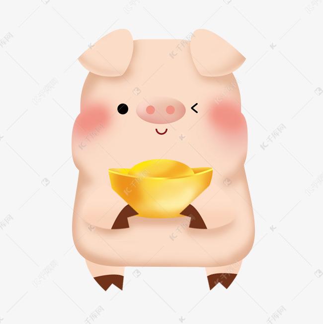 可爱3d猪卡通抱元宝插画png素材图片免费下载