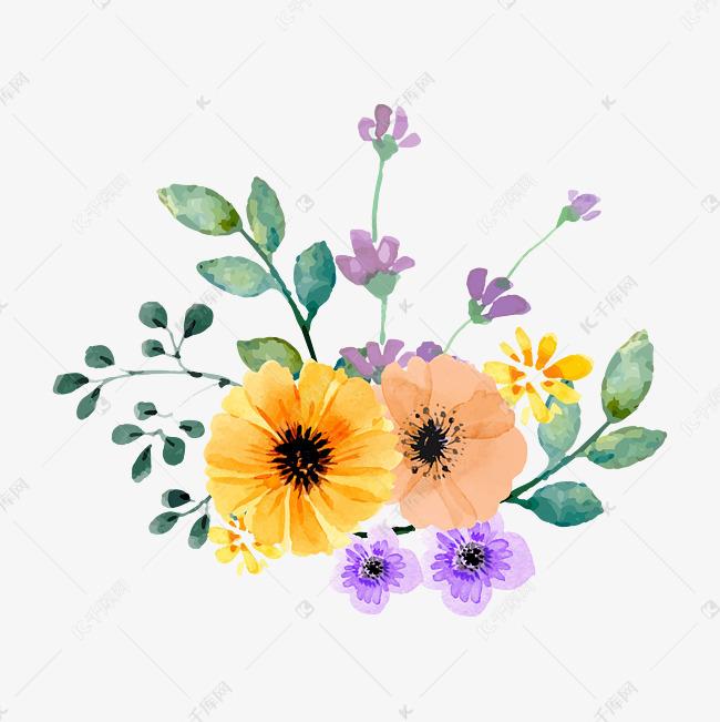 森系小清新水彩手绘绿叶花朵素材图片免费下载 千库网
