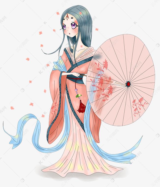 动漫厚涂手绘唯美古风拿雨伞的女子插画PNG素材图片免费下载 千库网