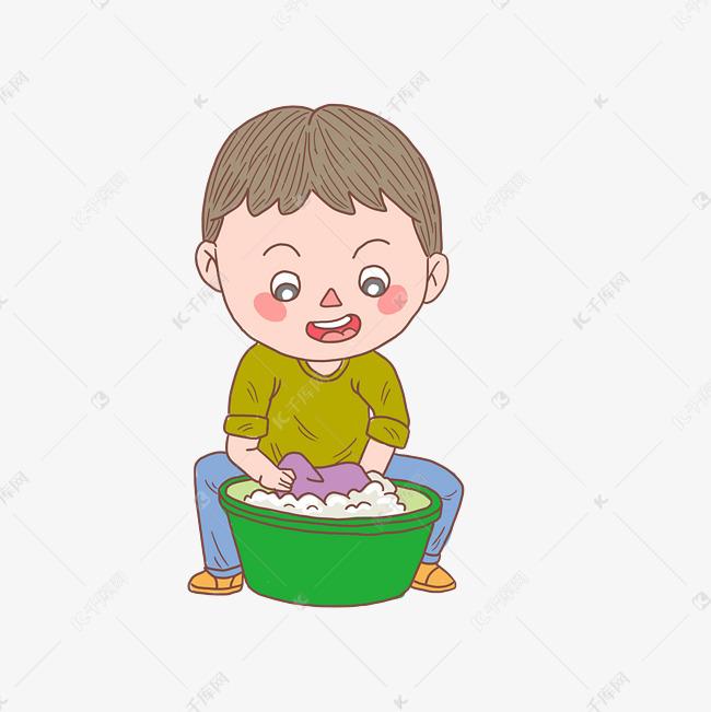 卡通手绘人物洗衣服少男素材图片免费下载 千库网