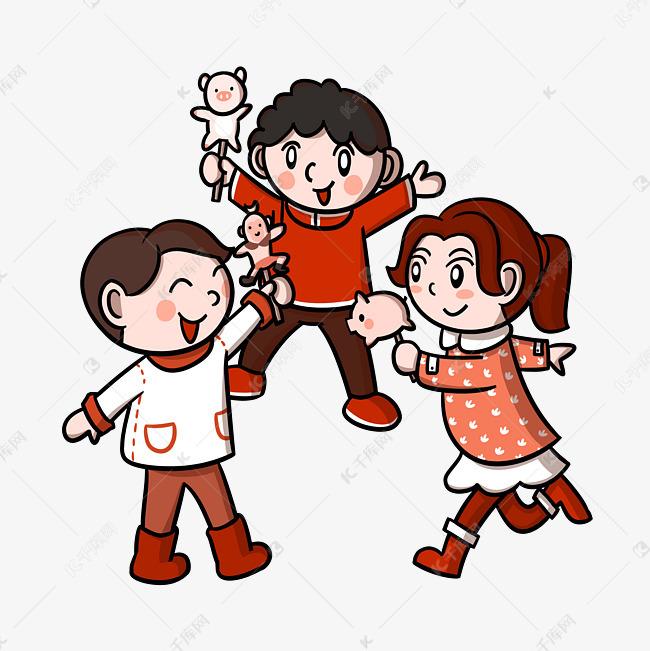 卡通2019猪年新年儿童捏面人png透明底素材图片免费下载 高清psd 千库网 图片编号11643700