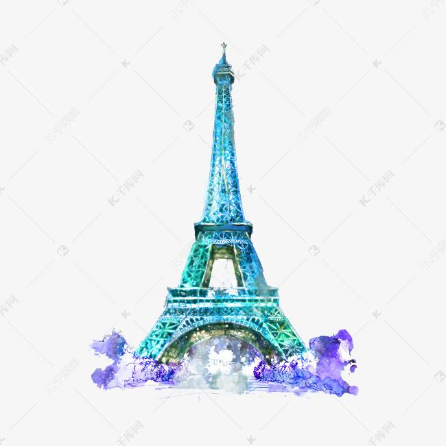 水彩巴黎铁塔手绘插画素材图片免费下载 千库网