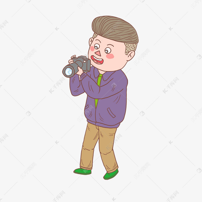 卡通手绘人物照相男孩素材图片免费下载 高清psd 千库网 图片编号11450778
