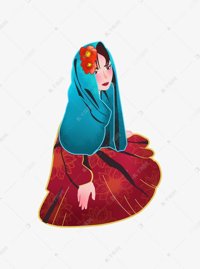 围着蓝色包头元素的视频女孩儿原创纱巾素材图放血拔罐异族图片