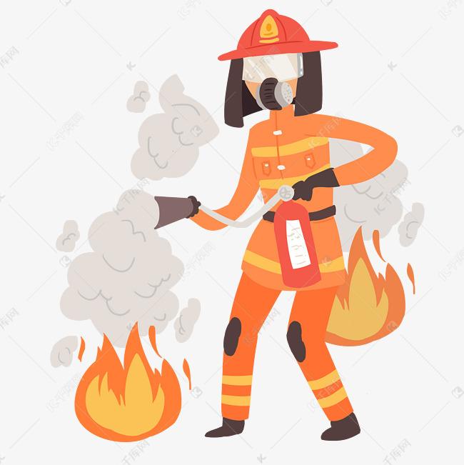 手绘救火的消防员插画素材图片免费下载 高清psd 千库网 图片编号11505068