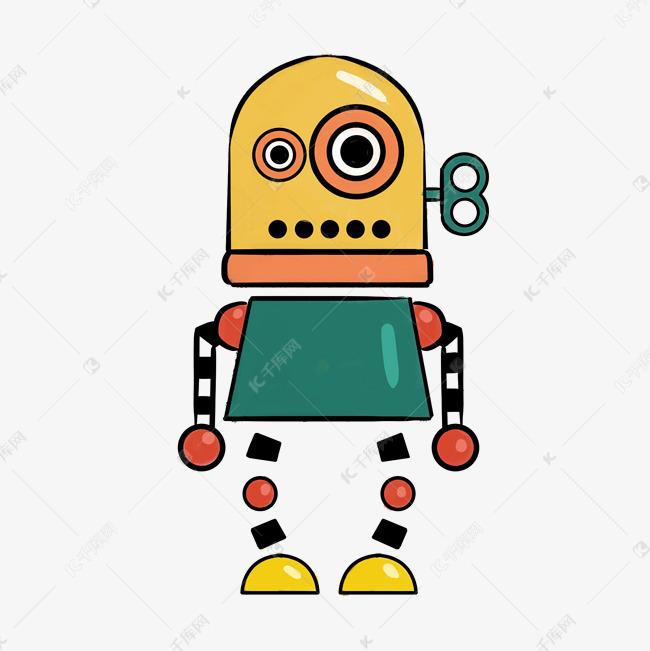 彩色可爱机器人卡通插画