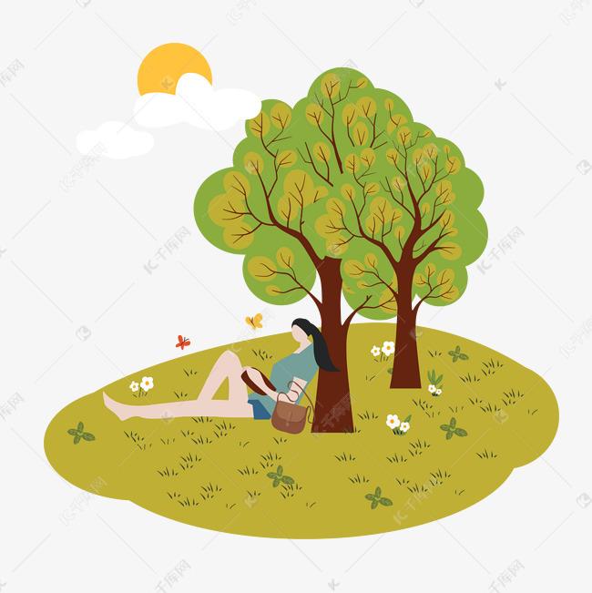 卡通插画风树下看书的女人素材图片免费下载 千库网